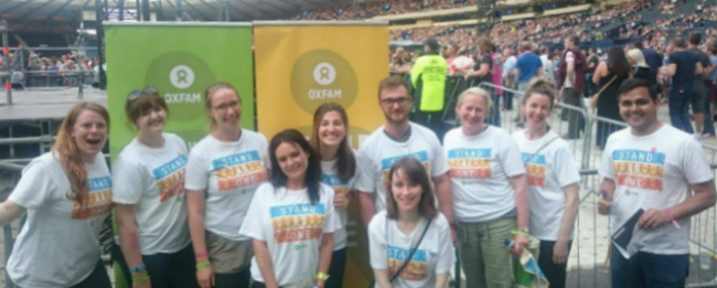 Oxfam campaigners were at Hampden to speak to Coldplay fans about our Stand As One campaign