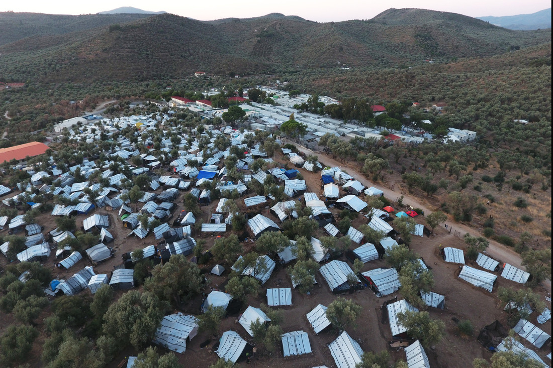 An aerial view of a makeshift settlement next to Moria camp on the island of Lesbos.