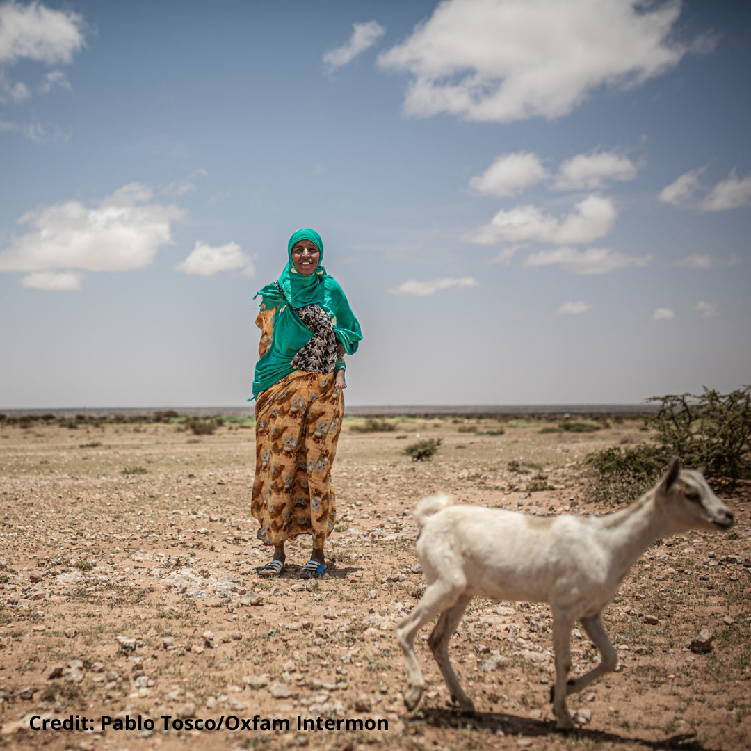 Image of a woman and goat in Ethiopia